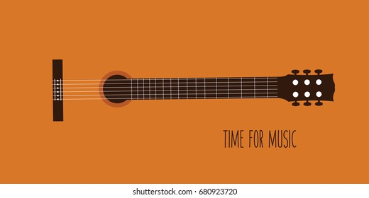 background of modern simple classical guitar vector. flat design classic music cartoon. concept musical. orange acoustic wooden guitar. beautiful melody for concert. concept & creative cover isolated