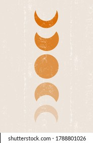 Background with Moon phases print boho minimalist printable wall art mid century abstract print bohemian art work, vector