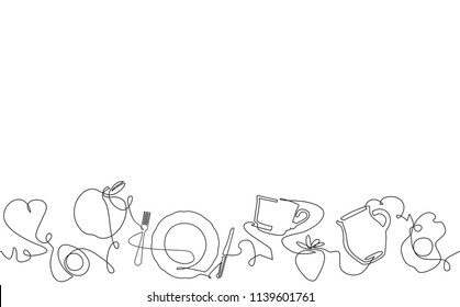 Background with Morning food and Utensils. Cooking Horizontal Pattern. Continuous drawing style. Vector illustration.
