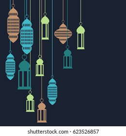 Background with Moroccan lanterns