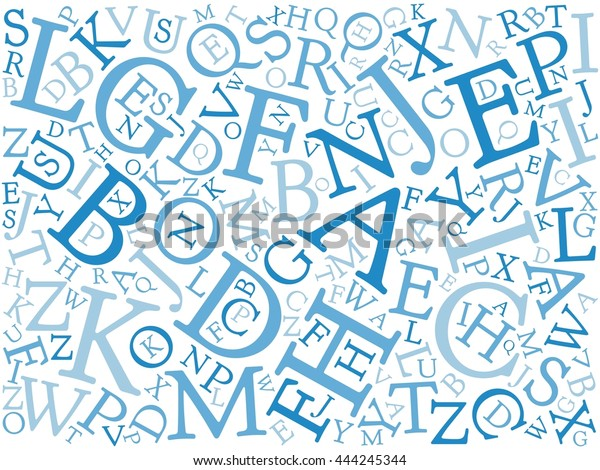 Background Mosaic Blue Latin Alphabet Letters Stock Vector