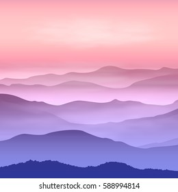 Background with mountains in the fog. Sunset time. EPS10 vector.