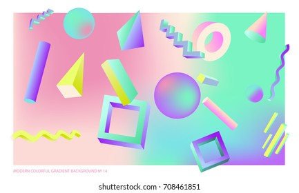 Background multicolored abstract vector holographic 3D background with figures and objects for web, packaging, poster, billboard, collage, wallpaper, presentation. Vector illustration of modern art.