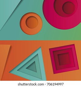 Background of multicolored abstract vector in the style of material design with geometric shapes of different sizes. Multilayer circles, triangles, squares on bright background for corporate identity