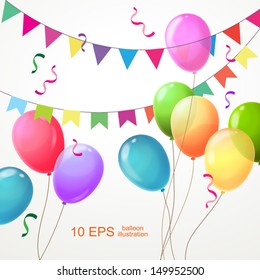 Background with multi-colored balloons and colorful flags. Vector 10 EPS.