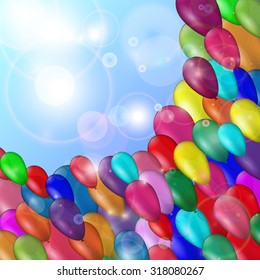 Background with multicolored balloons; festive mood; vector illustration.