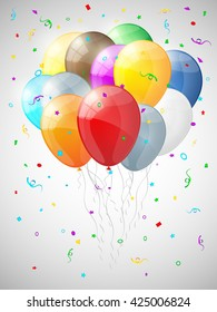 Background with multicolored balloons. Vector illustration.