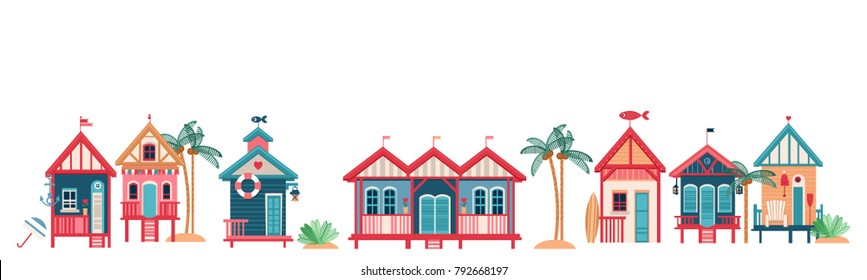 Background with multi-colored Beach Huts. Vector illustration. Horizontal border