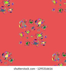 Background multicolored crab seamless simple pattern.