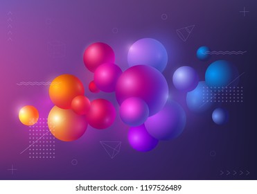 Background with multicolored decorative 3D balls. Abstract poster, vector illustration.