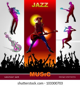 Background of music, set of musicians, singers, party people and band silhouettes, ornament of art guitar; Jazz, Rock, Reggae, blues, country, Rock, Pop, Rap, Hip-Hop styles for design
