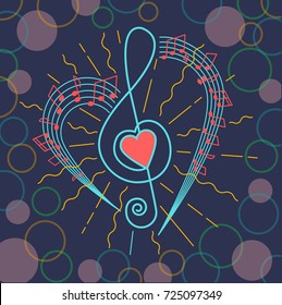 background of musical representation in the form of a treble clef with a heart