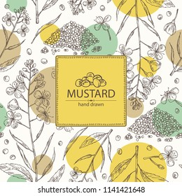 Background with mustard: plant, mustard seeds, flower, leaves and pod. Dijon mustard. Vector hand drawn illustration.