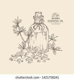 Background with myrrh and bottle of commiphora myrrha essential oil. Cosmetic, perfumery and medical plant. Vector hand drawn