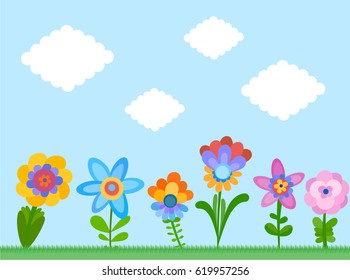 Background with naive style colorful flowers