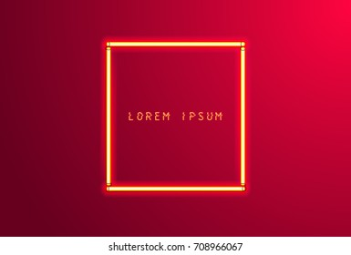 Background with neon red frame. Vector illustration