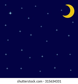 Background with night sky with shining stars and moon