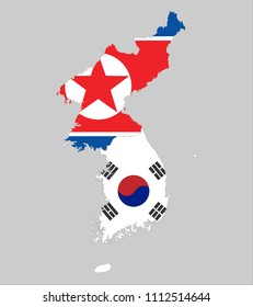 Background of north and south korea map and flag