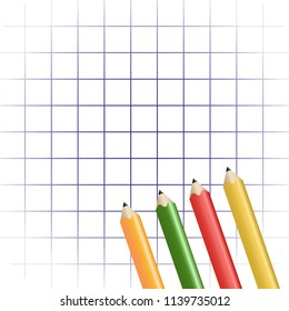 Background of notebook sheet in the box. Cell and color pencils. Vector illustration.