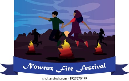 Background Nowruz fire festival.  Couple jumping over fire.