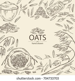 Background with oats: plate and bag with oats grain and oats plant. Vector hand drawn illustration