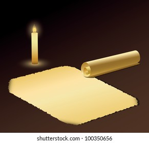 Background with old paper and candle. Vector