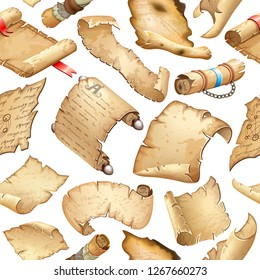 Background old parchments and scrolls decorated ribbon and silver elements. Ancient paper. Pattern vector illustration.