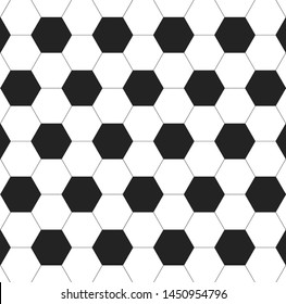 Background on a soccer theme. Black and white hexagon soccer ball pattern. Football texture. Vector illustration
