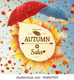 Background on a theme of autumn. Sale. EPS 10 vector file included