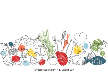 Background with Organic Food. Pattern with Vegetables, fruits, meat and seafood. Continuous drawing style. Vector illustration.