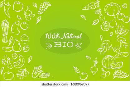 background with organic vegetables vector image, green background, hand drawing