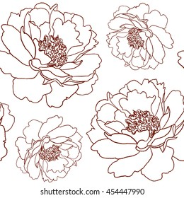 the background painted hands vector peonies
