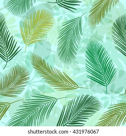 Background with palm leaves. Seamless pattern for web, print, wallpaper, wrapping, packaging design, scrapbook, spring summer fashion fabric, textile design. Jungle pattern.