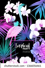 Background, party invitation,  cover with text box with tropical plants, flowers and birds  in neon, fluorescent colors. Vector illustration. Isolated on black background.