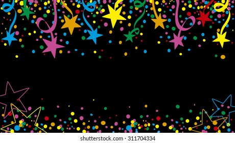 Background of a party with many confetti, streamers and stars at night