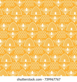 background pattern with bees and hives