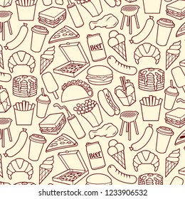 Background pattern with fast food icons (hamburger, pizza, hot dog, juice, fried chicken legs, barbecue grill, sausages, ice cream, pancake, milk shake, popcorn, paper cup of coffee)