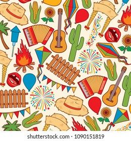 Background pattern with Festa Junina festival icons