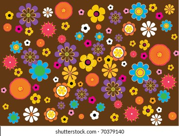 A background pattern inspired by 70s flowers.
