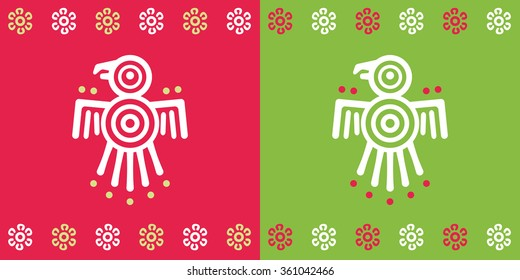 Background, pattern, Mexican Pre hispanic Icon Graphic, eagle and flowers ancient Mexico elements
