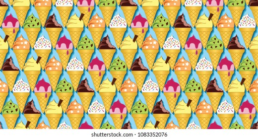 Background pattern of multi-flavored ice cream cones. Seamless repeat vector