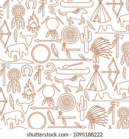 Background pattern with Native American Indians icons (bow and arrow, snake, horse, bison, cactus, tomahawk, axe, campfire, landscape, wigwam, chief headdress, canoe, peace pipe, dream catch)