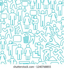 background pattern with people thin line icons (happy family, father, mother, grandfather, children, woman, parent together, wc icon, icon male and female, recycling sign, demonstrators, gym)