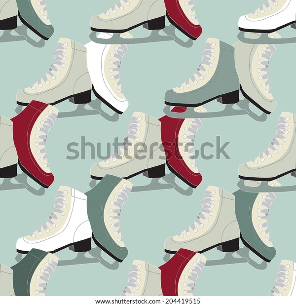the background pattern vector Snow ice skates
