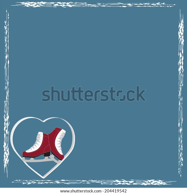 the background pattern vector Snow ice skates heart