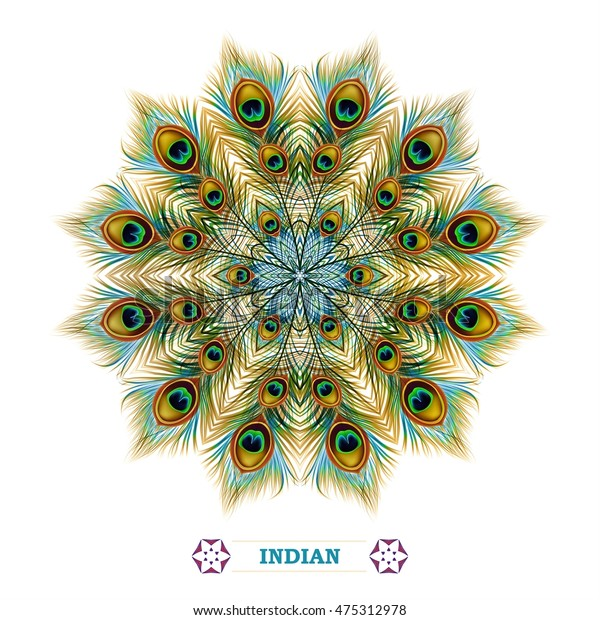 Background of peacock feathers, mandala. Ornament beautiful card in India style. Pattern round design. Vector illustration.