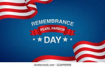 background pearl harbor remembrance with American flags, balloons in red, white, black and blue. vector eps 10