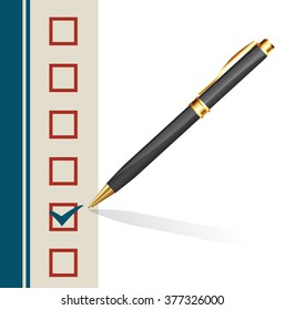 background with a pen making a mark in a box. vector