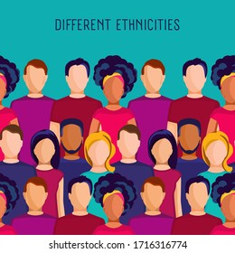 Background with people groups of different ethnicities and space for text. People of different nationalities.