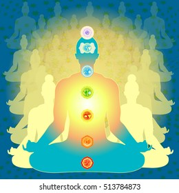 background people sitting in lotus position meditating with chakra. vector illustration